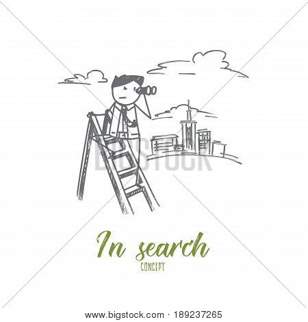 Vector hand drawn In search concept sketch. Man standing at ladder and looking from binoculars afar