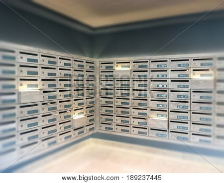 Mail Boxes Postal Corner In Apartment stock photo