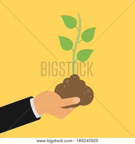 Hand holding seedling in flat style design