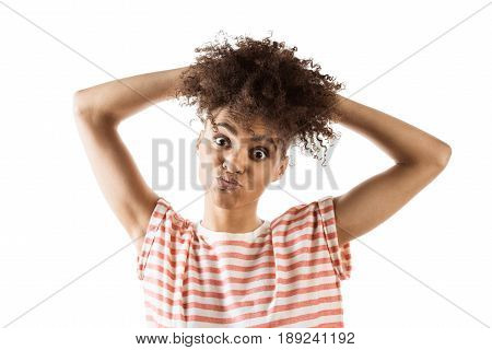 Portrait Of Grimace Woman Looking At Camera Isolated On White