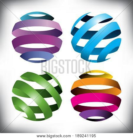 Four abstract globes for print or web use