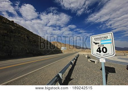 Road sign in the middle of ruta route 40, Patagonia, Argentina