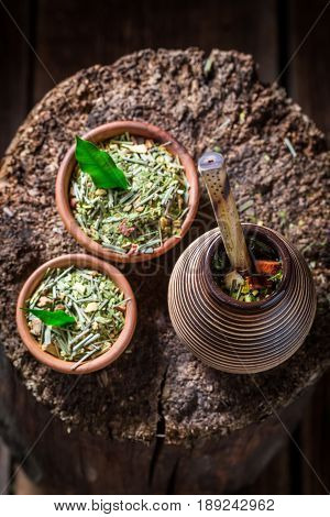 Healthy Yerba Mate With Calabash And Bombilla