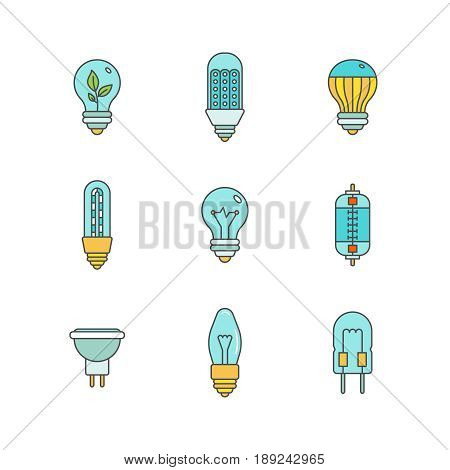 Vector Light Bulbs Iconset In Minimal Lineart Flat Style