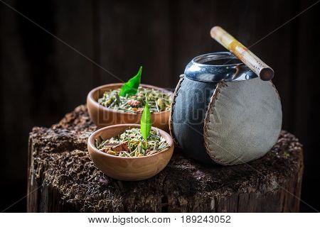 Tasty Yerba Mate With Bombilla And Calabash