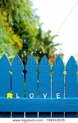wooden letters - love - on blue picket fence