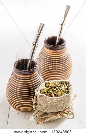 Delicious Yerba Mate With Calabash And Bombilla
