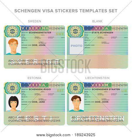Schengen Visa Passport Sticker Templates For Sweden, Estonia, Liechtenstein Set.