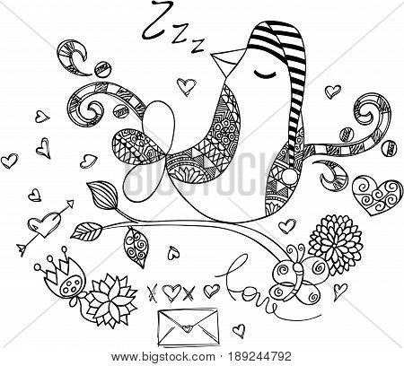 Scalable vectorial image representing a love bird sleeping, isolated on white.