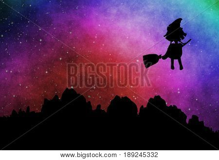 Cartoon witch silhouette flying on broomstick in the evening at starry sky
