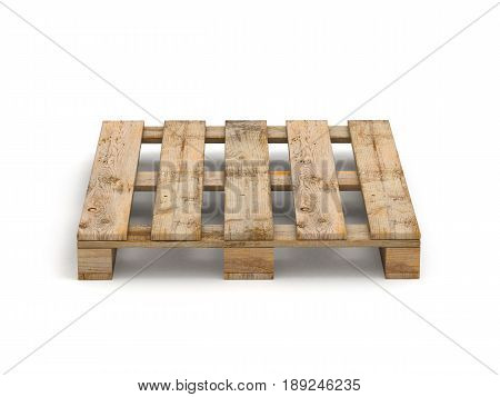 Wooden pallet. Isolated on white 3D illustration