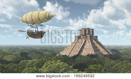 Computer generated 3D illustration with fantasy airship and Mayan temple