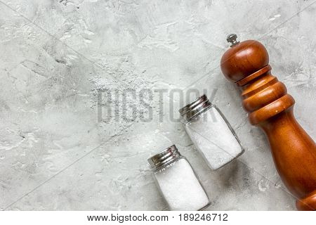 Cooking Set With Salt And Saltcellar On Stone Background Top View Mock Up