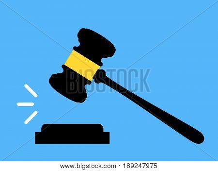 Court law icon. Gavel icon. Court bid judgment and auction concepts. Judge gavel. Auction hammer