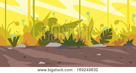 Jungle landscape with plants on ground and small stones, bushes in orange bright lights, nature game background, tileable horizontally