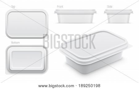 Vector white container for butter melted cheese or margarine spread. Top bottom front side and perspective views isolated over the white background. Packaging template illustration.