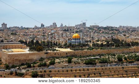 Jerusalem panoramic aerial view. Jerusalem is most sacred place for religious people christians muslims and jews.