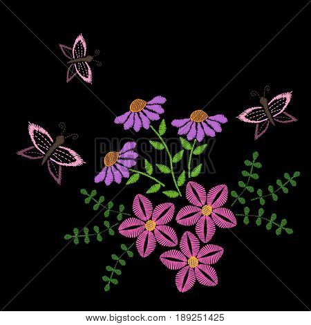 Embroidery stitches imitation flower with leaf and butterfly. Floral embroidery pattern. Vector embroidery template for printing on fabric napkin and other decoration.