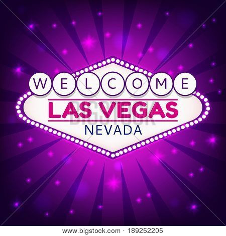 Las Vegas Casino Sign.Casino Neon Billboard Welcome Las Vegas Nevada in Frame of Light Bulbs on Neon Purple Shining Rays, Neon Stars Shining Purple Background.Design Conception for Gambling Place.