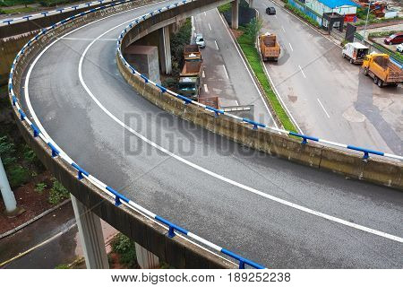 Aerial Photography Of City Viaduct Bridge Road Landscape