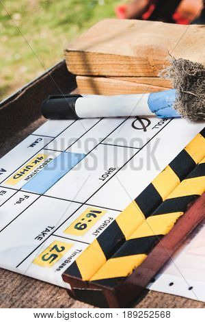 behind the scene, close up of Film Slate on set