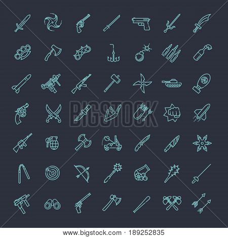 Weapons vector icons set, cold steel arms