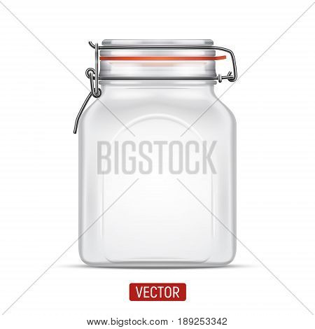 Vector empty Bale Square Glass Jar with Swing Top Lid isolated over the white background. Realistic illustration.