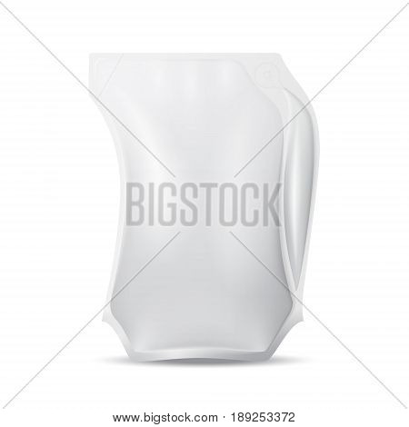 White blank mock up plastic pitcher with air-filled handle isolated on white background. Vector realistic packaging template illustration.