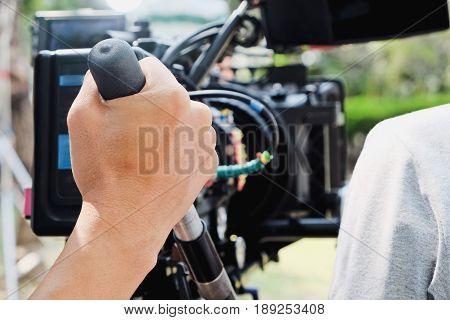 Cameraman at work, Professional digital video camera