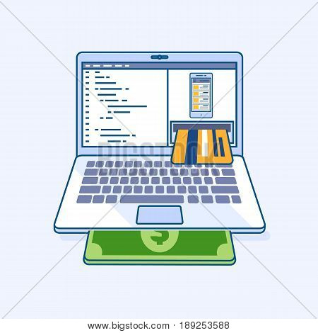 Flat line illustration of freelance mobile application income online work laptop or notebook atm cash machine earnings in credit card refill check of balance. Digital eCommerce business concept