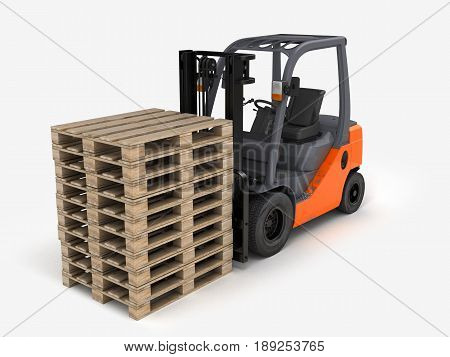 Forklift with pallets isolated on white backgound 3d