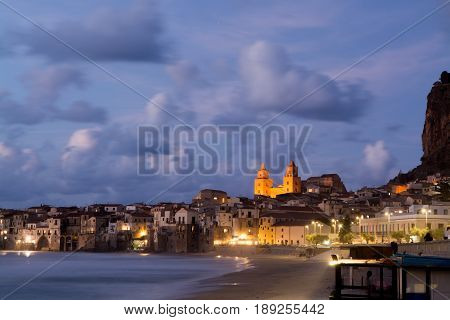 Touristic and vacation pearl of Sicily small town of Cefaly Sicily south Italy sea view