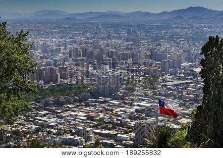 Panoramic view of the city of Santiago de Chile from the San Cristobal Hill (Cerroo San Cristobal) in Chile South America