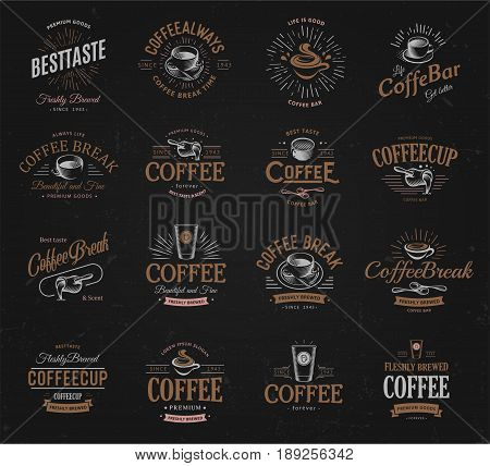 Coffee vintage logos set. Freshly brewed caffeine dark drink logotype. Premium goods latte and espresso business retro logo collection design.Modern lettering badge for cappuccino cafe or restaurants