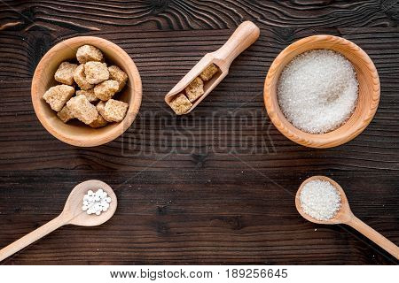Lumps Of Sugar In Bowls On Wooden Table Background Top View Space For Text