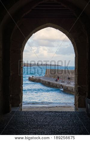 Sea view and old stone city wall