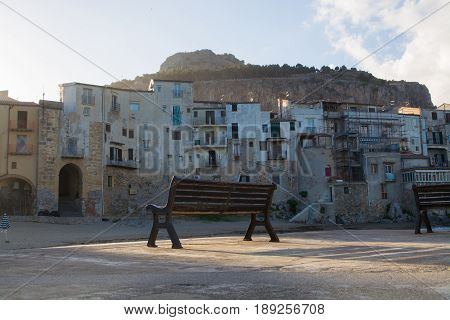 Touristic and vacation pearl of Sicily small town of Cefalu Sicily south Italy
