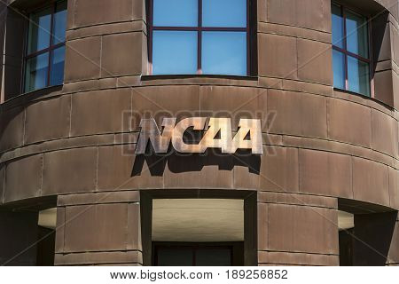 Indianapolis - Circa June 2017: National Collegiate Athletic Association Headquarters. The NCAA regulates athletic programs of many colleges and universities IX