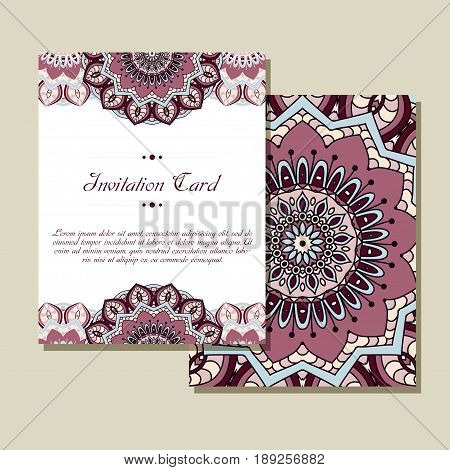 Invitation graphic card with mandala. Decorative ornament for card design: wedding, bithday, party, greeting. Vintage mandala element. Vector illustration.