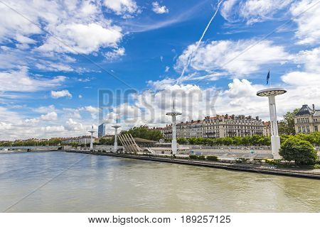 Enbankment Of The Rhone River In Lyon, France