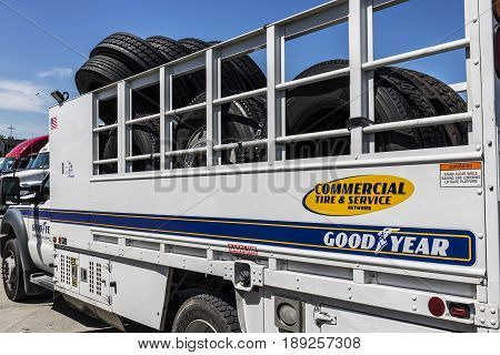 Indianapolis - Circa June 2017: Goodyear Commercial Tire and Service Vehicle. Goodyear provides tires and services for Big Rig Semi Tractor Trailer Trucks II