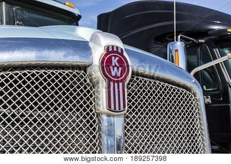 Indianapolis - Circa June 2017: Grille and Logo of a Kenworth Big Rig Semi Tractor Trailer. Kenworth is a division of PACCAR I