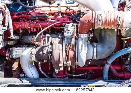 Indianapolis - Circa June 2017: Peterbuilt Big Rig Semi Tractor Trailer engine turbocharger I