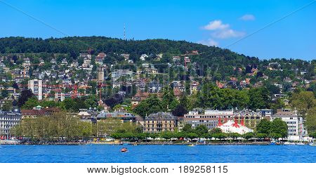 Zurich, Switzerland - 26 May, 2016: view of the city from Lake Zurich. Zurich is the largest city in Switzerland and the capital of the Swiss canton of Zurich.