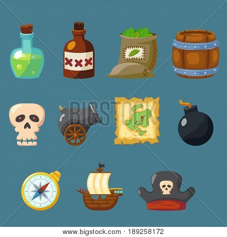 Pirate for game cute icon inventory weapon vector set eps10