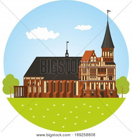 Brick Gothic-style cathedral in Kaliningrad. Vector illustration