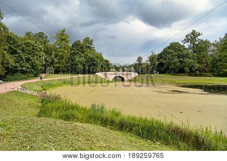 A picturesque view in Gatchina Palace Park on the beautiful nature and architecture. Summer landscape in the Gatchina, St. Petersburg, Russia