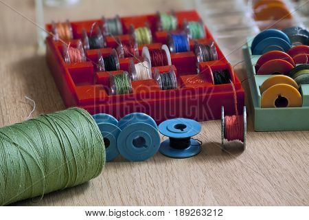 Thread and bobbin for sewing machine macro shot