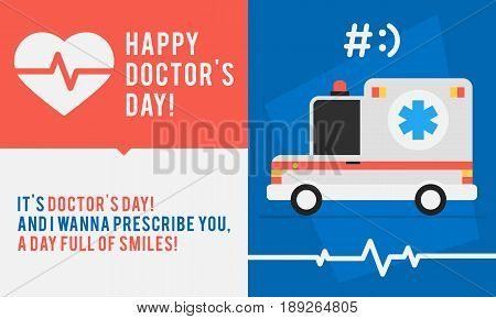 Concept Doctors Day Ambulance Car And Congratulations