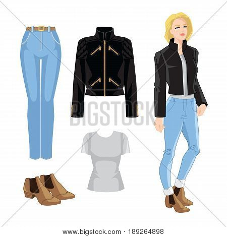 Vector illustration of blue jeans, bomber jacket and ankle boots with elastic ribbon. Young blonde girl with bob haircut on white background.